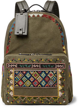 Valentino Leather-Trimmed Embroidered Canvas Backpack
