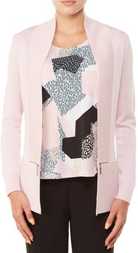 Allison Daley Rib-Trim Open Front Cardigan
