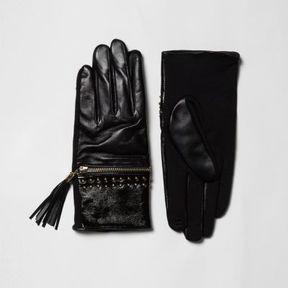 River Island Womens Black leather tassel zip gloves gift box