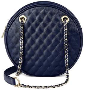 Aspinal of London Jackie O Bag In Navy Quilted Kaviar