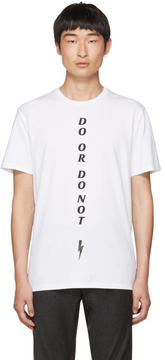 Neil Barrett White Do or Do Not T-Shirt