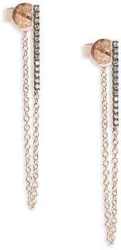Ef Collection Women's White Diamond & 14K Rose Gold Bar Chain Stud Earrings