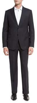 Armani Collezioni Plaid Wool Peak-Lapel Two-Piece Suit, Gray/Navy