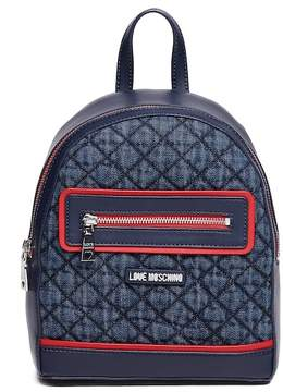 Love Moschino Quilted Denim & PU Backpack