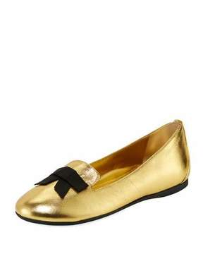 Burberry Ally Metallic Leather Loafer w/ Bow, Gold, Youth