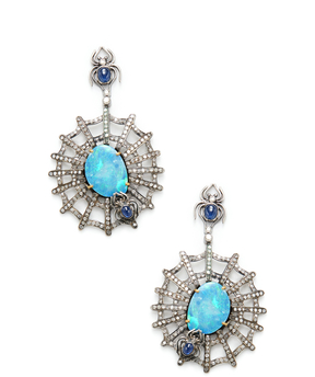 Artisan Women's Spider Web Silver, Opal, Blue Sapphire & 2.91 Total Ct. Diamond Drop Earrings