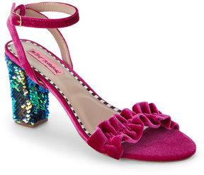 Betsey Johnson Magenta Iliana Ruffled Sequined-Heel Sandals