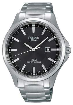Pulsar Men's Solar Dress Watch - Silver Tone with Black Dial - PX3073