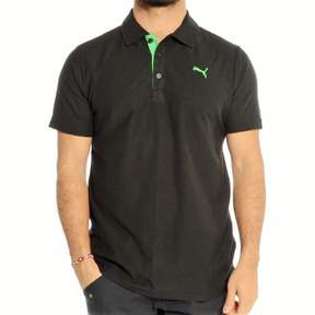 Puma Short Sleeve Jersey Contrast Polo In Black