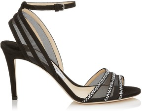 Jimmy Choo BETTY 85 Black Suede and Mesh Open Toe Pumps with Hotfix Crystals