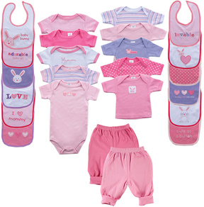 Luvable Friends Pink Bodysuit 24-Piece Gift Cube Set - Infant
