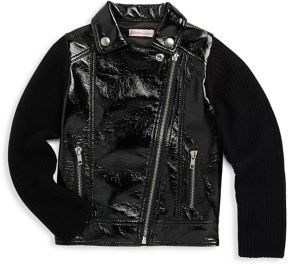 Design History Little Girl's Collared Pleather Jacket