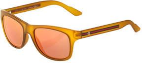 Gucci Square Plastic Sunglasses w/ Web Arms, Yellow