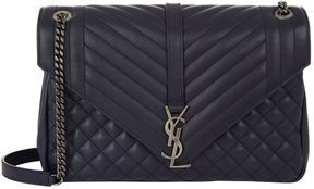 Saint Laurent Collège Leather Satchel - NAVY - STYLE