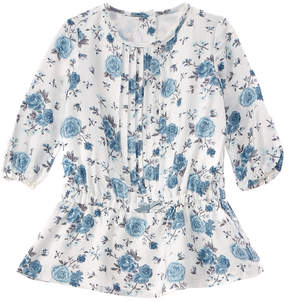 Chicco Girls' White & Blue Floral Dress