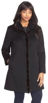 Fleurette Plus Size Women's Wool Wing Collar Coat With Genuine Mink Trim