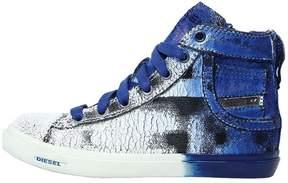 Diesel Crackled Printed Denim High Top Sneakers