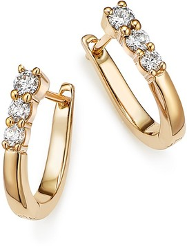 Bloomingdale's Diamond Three Stone Small Hoop Earrings in 14K Yellow Gold, .30 ct. t.w. - 100% Exclusive