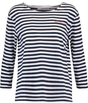 Chinti and Parker Embroidered Striped Cotton Top