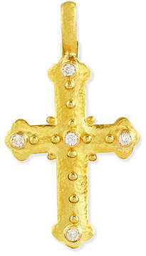 Elizabeth Locke 19k Byzantine Cross Pendant with Diamonds