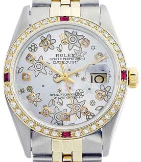 Rolex Datejust 16013 Oyster Perpetual Stainless Steel 18K Yellow Gold Diamond and Ruby Silver Flower 36mm Watch