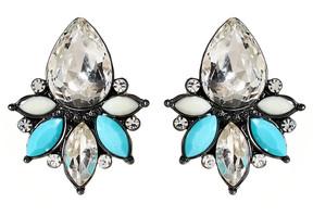 Amrita Singh Austrian Crystal & Teal Pondicherry Stud Earrings