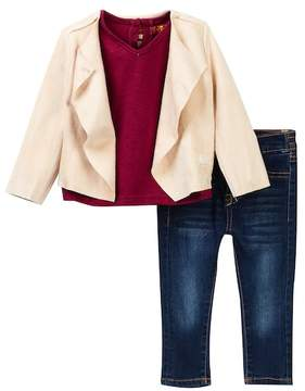 7 For All Mankind Slouchy Jacket, Tee, & Skinny Jeans (Baby Girls)