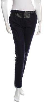 Celine Leather-Trimmed Wool Pants