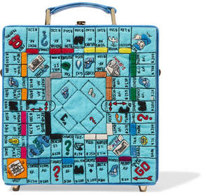 Olympia Le-Tan Paris Game Board Embroidered Felt, Leather And Faille Tote - Blue