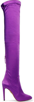Aquazzura All I Need Stretch-satin Over-the-knee Boots - Purple