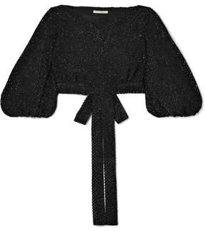 Emilia Wickstead Francis Cropped Metallic Open-knit Top - Black
