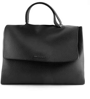 Orciani Black Leather Sveva Large Bag.