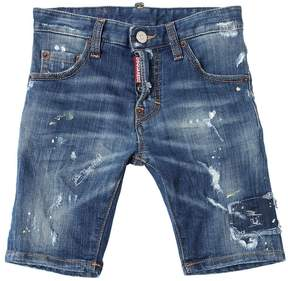 DSQUARED2 Painted Stretch Cotton Denim Shorts