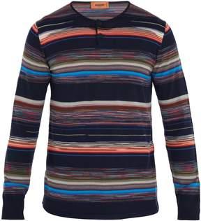 Missoni Crew-neck striped wool-blend henley top