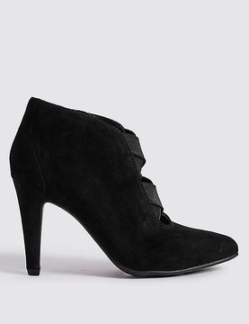 Marks and Spencer Wide Fit Suede Stiletto Heel Shoe Boots