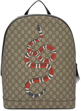Gucci Beige GG Supreme Snake Bestiary Backpack
