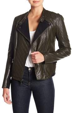 GUESS Ribbed Knit Faux Leather Jacket