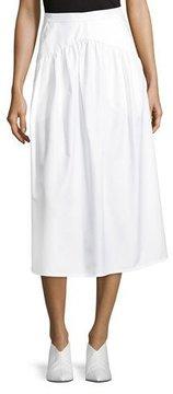 Atlantique Ascoli A-Line Cotton-Poplin Ankle-Length Midi Skirt