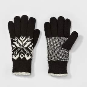 Isotoner Women's Split Snowflake Knit Glove -Black