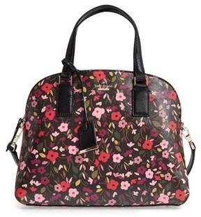 Kate Spade Cameron Street Boho Floral- Lottie Leather Satchel - Black - BLACK - STYLE
