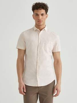 Frank and Oak Short Sleeve Linen Blend Shirt in Amber Light