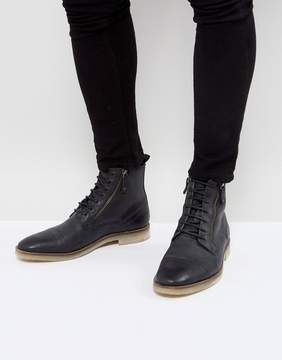 Asos Lace Up Boots In Black Suede With Zip Detail And Natural Sole