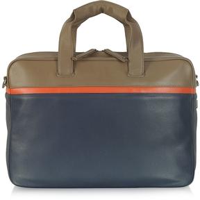 Giorgio Fedon 1919 Life File Color Block Leather Briefcase