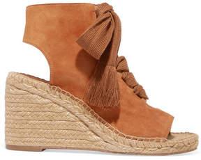 Chloé Harper Lace-up Suede Espadrille Wedge Sandals - Tan