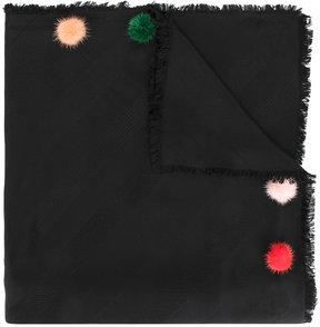 Fendi pom pom embellished scarf