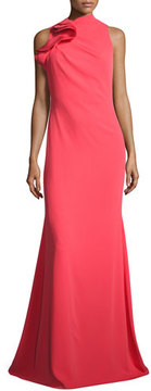Badgley Mischka Ruffle-Neck Sleeveless Mermaid Gown, Melon