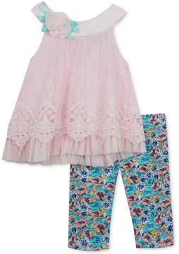 Rare Editions 2-Pc. Embroidered Tunic & Leggings Set, Baby Girls