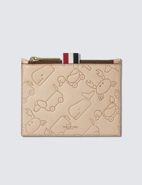 Thom Browne Small Coin Purse (14.5 cm) In Toy Icon Embossed Vegetan Vachetta Leather