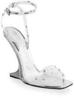 Giuseppe Zanotti Garconne Crystal and Leather Ankle Strap Sandals
