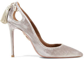 Aquazzura Forever Marilyn Tasseled Velvet Pumps - Light gray